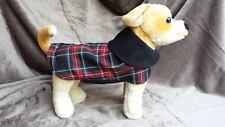 Black stewart tartan fleece lined dog puppy coat jacket