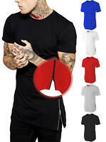 Mens Longline T SHIRTS ZIPPER Trim Hipster Extended HipHop Elongated Style Tee