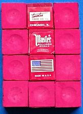 Pool Cue ~Tip Chalk ~ MASTER ~ color:  RED ~ 12 pieces