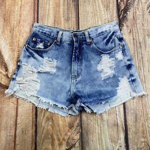 Forever 21 Acid Wash Distressed High Rise Shorts Women Size Medium Frayed