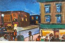 City Street Night Scene-Oil Painting-1960s-Israel Louis Winarsky