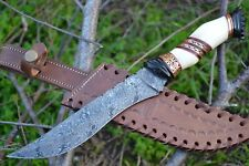 "HUNTEX Handmade Damascus 13"" Long Full Tang Bush Craft Hunting Bowie Knife"