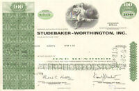 Studebaker-Worthington > old auto car share green stock certificate