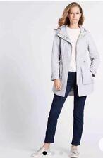 M&S Pebble Grey Jacquard Parka With Stormwear BNWOT Microfleece Lining Size UK24