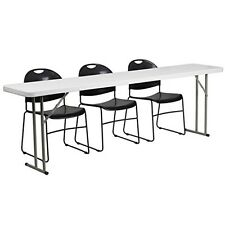 18 x 96 Plastic Folding Training Table w/3 Black Plastic Stack Chairs Table New