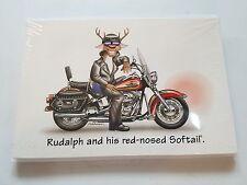 HARLEY DAVIDSON CHRISTMAS CARDS #X842 RUDOLPH REINDEER IN BIKER LEATHERS 10
