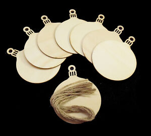 10 Blank Wooden Round Christmas Bauble Ball Craft Hanging Decoration 7cm x 9cm
