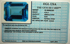 EGL USA CERTIFIED BLUE NATURAL TOPAZ 8.04 CT EMERALD STEP WITH APPRAISAL $130
