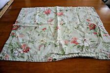 Pillow Sham Green With Pink Cream Floral Design 100% Cotton Standard Size