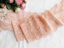 13 cm width Light Coral  Stretch Lace Trim