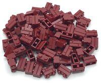 LEGO LOT OF 100 DARK RED MASONRY 1 X 2 BRICKS BUILDING BLOCKS PIECES