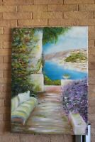 Oil paintig decor blue sea nautical art wall canvas italy trees flowers beach