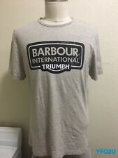NEW *BARBOUR* LG GRAY *INTERNATIONAL TRIUMPH* PRINT T-SHIRT STEVE MCQUEEN NWOT