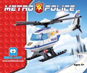 Brick Loot City Metro Police Helicopter Building Brick Blocks Set