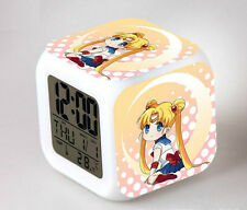 Japan Anime Sailor Moon Seven Color Change Glowing Alarm Clock A123
