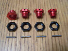 Arrma Mojave 1/7 6s BLX Red 17mm Aluminum Wheel Hexes Black Nuts Pins Hex Typhon