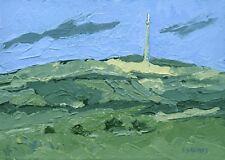 Emley Moor TV Mast ORIGINAL LANDSCAPE PAINTING Steve Greaves Yorkshire Art Tower