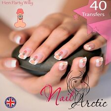 40 x Nail Art Water Transfers Stickers Wraps Decals Hen Do Hen Party Willy