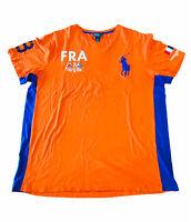 Polo Ralph Lauren Men's T-Shirt XL FRA -39 Orange Blue V-Neck (C4w