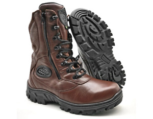 Mens Motorcycle Military Coffee Genuine Leather Boots Zipper Bike Rider Combat