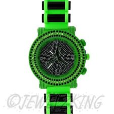 MENS ICED OUT GREEN/BLACK MICHAEL JORDAN JUMPMAN LOGO BULLET BAND WATCH