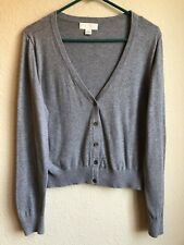 Sweater Forever 21 Gray 2X Cotton Button Down Cropped Short Grey