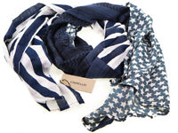 Codello Blue White Stripes & Stars Textured 100% Cotton Men's Lightweight Scarf