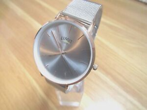 BRAND NEW LADIES LIMIT WATCH LARGE ROUND SILVER DIAL STAINLESS STEEL MESH STRAP