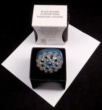 STYLISH BOLD AVON CLUSTER RING TURQUOISE COLORED FAUX STONES ENAMEL LOOK NOS