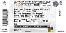 Football ticket > Bolton Wanderers/Arsenal JAN 2012