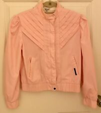 Vintage 80s Crop Moto Pink Puff Sleeves Jacket Cropped Short Sm Med Fc4