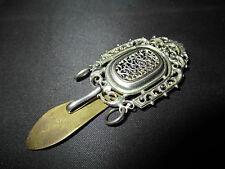 ancien crochet de châtelaine métal argenté et bronze XIX ème