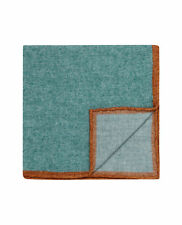 T.M.Lewin Mens Teal Contrast Border Wool Pocket Square