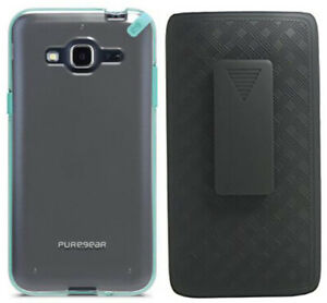 PureGear Mint/Clear Case Cover + Belt Clip for Samsung Galaxy Express Prime