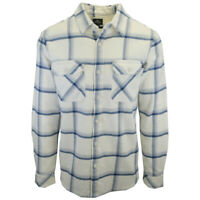 Rip Curl Men's Cream & Blue Plaid L/S Flannel Shirt (S03)