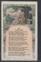 40291) Jugendstil Litho AK Gedicht Ob er mich liebt ? Duisburg 1918 Feldpost