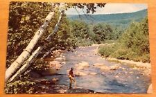 Scenic River with Fisherman vintage glossy postcard - Melvin Village NH postmark