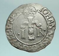 1584 SWEDEN King John ( Johann ) III SWEDISH Billon Silver Coin w SHIELD i79777