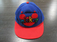 VINTAGE Disney Mickey Mouse Hat Cap Blue Red Strap Back Adjustable Kids Boys 90s