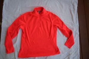 Dark Coral Fleece THE NORTH FACE Zip Neck LS Sweatshirt Large