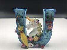 Mary Engelbreit Unicorn Letter U Me 1999 Flowers Umbrellas Figurine