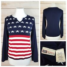 Faded Glory S 4/6 Blue Red White Patriotic American USA Flag Sweater Long Sleeve