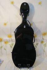 Great 3/4 black fiberglass Strong cello hard case w/wheells, #6714