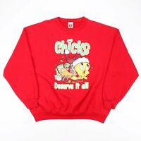 Vintage LOONEY TUNES Chicks Red American Crew Neck Sweatshirt Womens XL