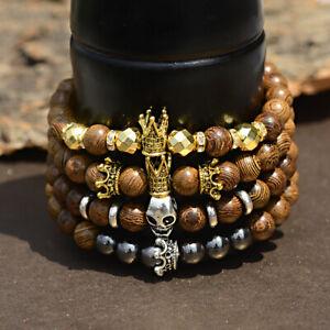 8mm Wood Crown Skull Bracelets Healing Balance Punk Men Women Bracelets Jewelry