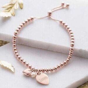Personalised Gifts Rose Gold Slider Friendship Bracelet Any Engraving FREEPOST