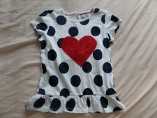 M&S Girls Ivory Red Heart Short Sleeve 100% Cotton Frock Size 5-6 Years