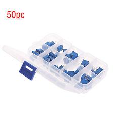 50pcs 10VALUE Multi Turn 500Ohm-1M Ohm 3296W Trimmer Potentiometer Assorted Kit