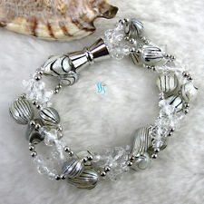 "8"" 6-7mm 3Row Wave Baroque Freshwater Mother Of Pearl Crystal Bracelet"
