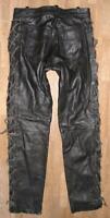 fette Damen- Schnür- LEDERJEANS / Biker- Lederhose in schwarz ca. Gr. 40/42